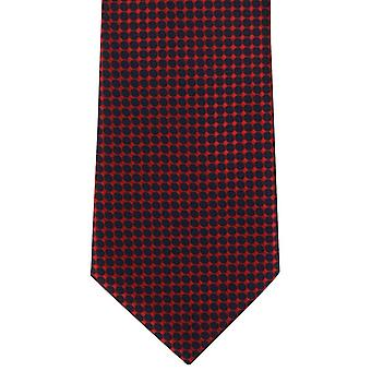 Michelsons of London Spot Grid Polyester Tie - Red