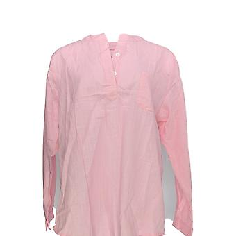 Serengeti Women's Top Linen Look 3/4 Sleeve Light Pink