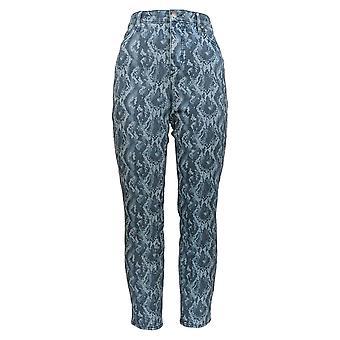 H von Halston Frauen's Jeans Premier Denim Schlange gedruckt Knöchel blau A351349