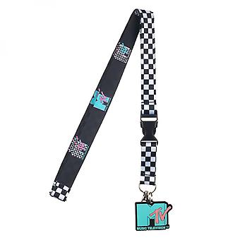 MTV Repeating Pattern Lanyard with Charm and Sticker