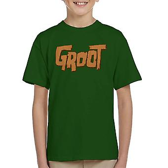 Marvel Guardians Of The Galaxy Groot Wood Text Kid's T-Shirt