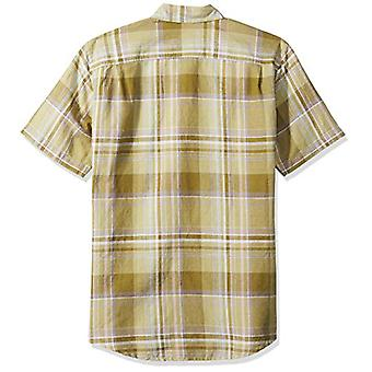 Essentials Men's Regular-Fit Short-Sleeve Linen Cotton Shirt, Olive Pl...