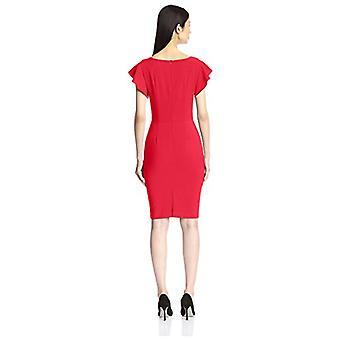SOCIETY NEW YORK Women's Ruffle Sleeve Sheath Dress, True Red, 8 US