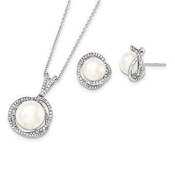 925 Sterling Silber 10 12mm weiß Süßwasser kultiviert Perle CZ Zirkonia simuliert Diamant Halskette und Ohrringe Se