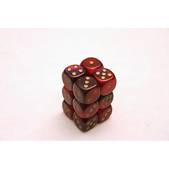 Chessex Gemini 16mm D6 x 12 - Violet-Rouge/Or