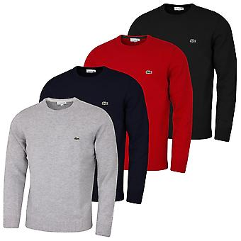 Lacoste Mens 2020 Ribbed Crew Neck Cuffs Classic Fit Crocodile Wool Sweater