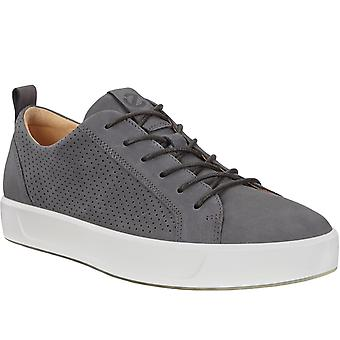 Ecco Mens Soft 8 Leather Casual Fashion Pumps Trainers Sneakers Shoes - Grey
