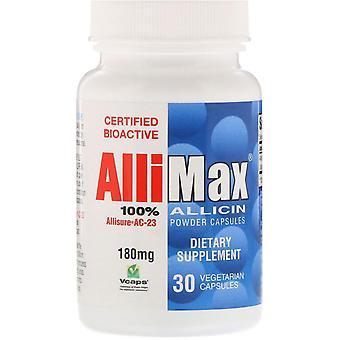 Allimax, 100% Allicin Powder Capsules, 180 mg, 30 Vegetarian Capsules