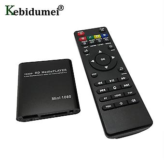 Hdd Media Box Tv Box Video Multimedia Player Full Hd con lettore di schede Sd Mmc 100mpbs Eu Power Adapter