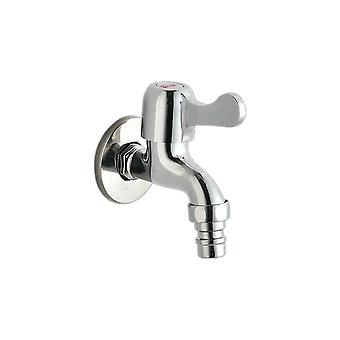 Alloy 4 Points Washing Machine Faucet Short Style Silver