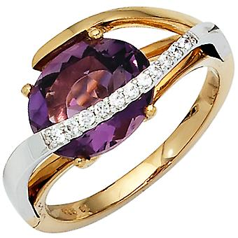 Damen Ring 585 Gold bicolor 11 Diamanten Brillanten 1 Amethyst lila violett  Größe:60