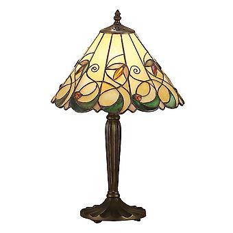 1 Ljus liten bordslampa Tiffany Glas, Mörk BronsFärg med höjdpunkter, E27