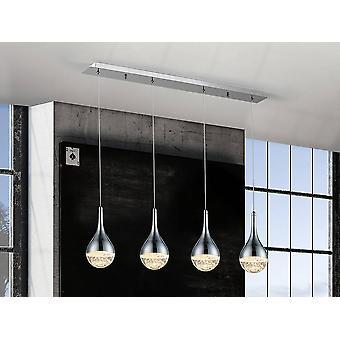 Integrado LED Crystal Bar colgante de techo Cromo Efecto Burbuja