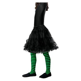 Girls Green & Black Wicked Witch Tights Age 6-12