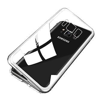 Stoff zertifiziert® Samsung Galaxy S8 Plus magnetische 360 ° Fall mit gehärtetem Glas - Ganzkörper-Cover-Etui + Bildschirmschutz Silber