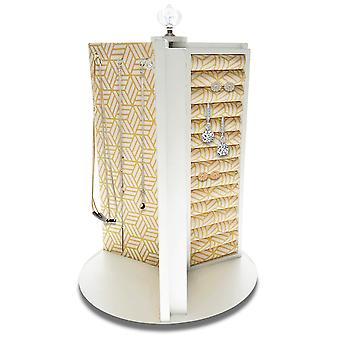 OnDisplay Stella Gold Geo Print Rotating Jewelry/Accessory Organizer - Spinning Organization Station for Necklace/Earrings/Bracelet