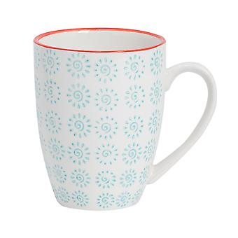 Nicola Spring Hand-Printed Tea and Coffee Mug - Japanese Style Porcelain Latte Mugs - Turquoise - 360ml
