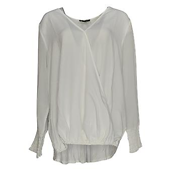 DG2 por Diane Gilman Women's Plus Top V-Neck W/ Sheer Sleeves White 648-383