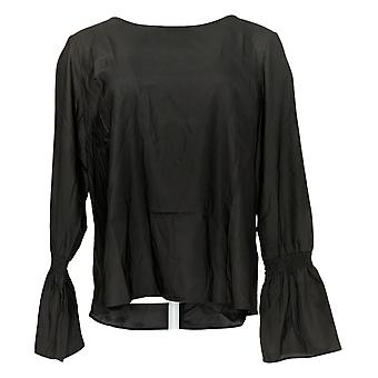 G.I.L.I. Got It Love It Women's Top Woven W/Bell Sleeves Negro A292992