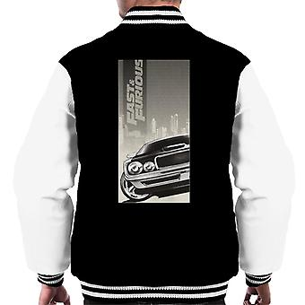 Schnelle und wütende Dodge Charger City Backdrop Men's Varsity Jacke