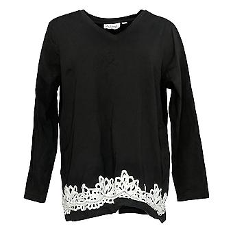 Linea por Louis Dell'Olio Women's Top Lace Applique Black A347498