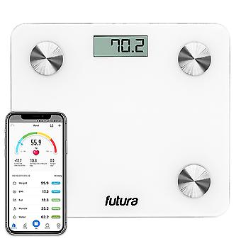 Futura Smart Bathroom Scales White Bluetooth Weighing Scales iOS & Android