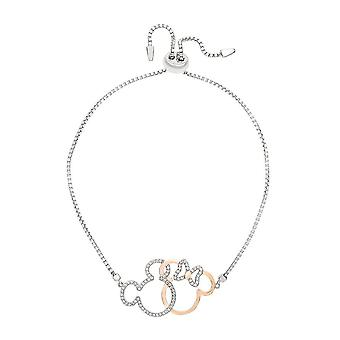 Disney Minnie and Mickey Mouse Sterling Silver Lariat Bracelet