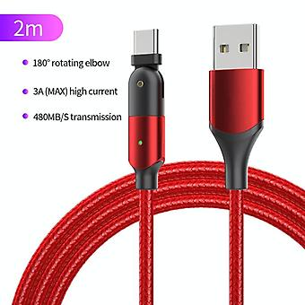 ZFXCT-WYA09 3A USB naar USB-C / Type-C 180 Graden Roterende elleboogoplaadkabel, lengte:2m(rood)