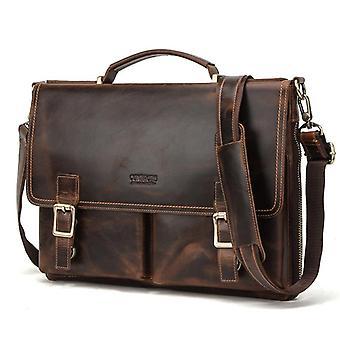 Men Briefcase Bag Crazy Horse Leather Shoulder Messenger Bags