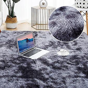 Plüsch Teppich für Wohnzimmer dick flauschigen Teppich Bett Boden soft Grey Tie Dyeing