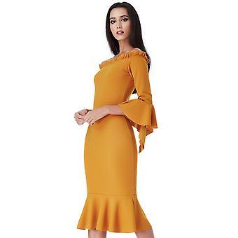 Mustard bardot with frill detail midi dress