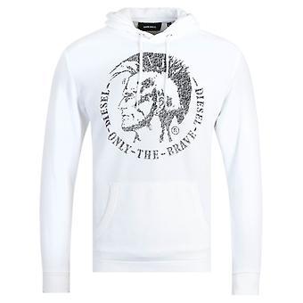 Diesel S-Agnes Felpa White Hooded Sweatshirt