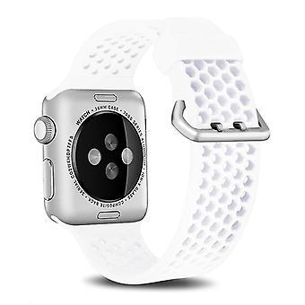 Apple Watch Series 6&:ssa &Se&äytä 5 &ja 4 44mm / 3 & &2& 1 42mm kaksisävyinen hunajakenno hengittävä silikoni urheiluhihna (valkoinen)