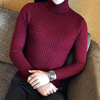 Schlanke solide Turtleneck Pullover, Herren Winter Langarm Warm stricken Classic Casual
