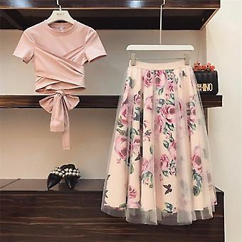 Women Irregular T Shirt Skirts Suits Bowknot Solid Tops Vintage Floral Skirt