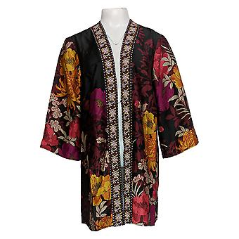 Susan Graver Women's Sweater Floral Woven Open Front Cardigan Black A367240