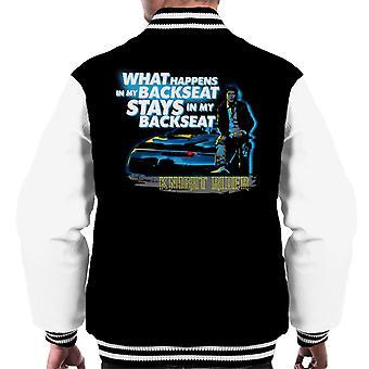 Knight Rider Lo que sucede en mi asiento trasero se queda en mi trasero hombres's Chaqueta Varsity