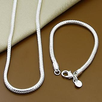 Sterling Silver Solid Snake Chain, Bracelet Necklace, Men Brand Sets, Charm
