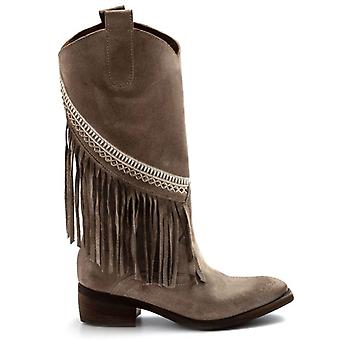 Texan Boots Zoe Sioux In Suede Dove With Fringe
