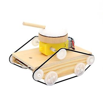 Handmade Assemble Tank Cars Science Experiment Educational Kids Toy (khaki)