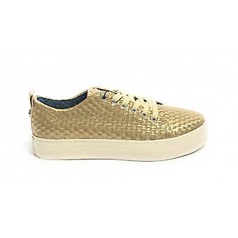 Sneaker Vrouw Us Polo Mod. Koningin geweven in geweven faux lederen gouden kleur Ds19up01