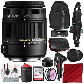 Sigma 18-250mm f3.5-6.3 dc macro os hsm para nikon f-mount dslr câmeras com placa de 32gb, kit de limpeza de câmera xpix e pacote de luxo