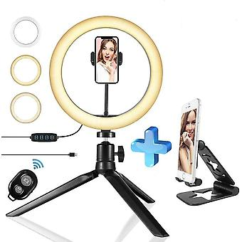 bærbar selfie ringlys justerbar stativ fjernkontroll