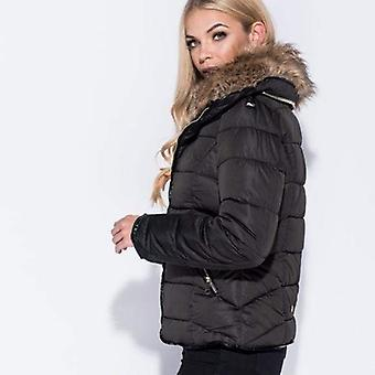 Fur lined hooded puffer jacket
