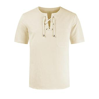 Swotgdoby Men's Round Neck Solid Color Tether Retro Short-sleeved T-shirt