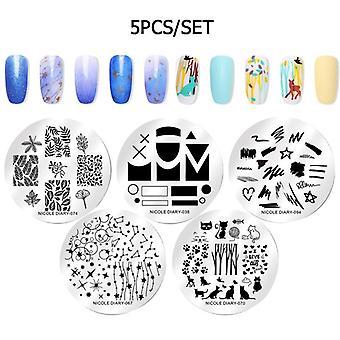 Set de esmalte de estampado de uñas, impresión de arte, placa de diseño de varnish diy