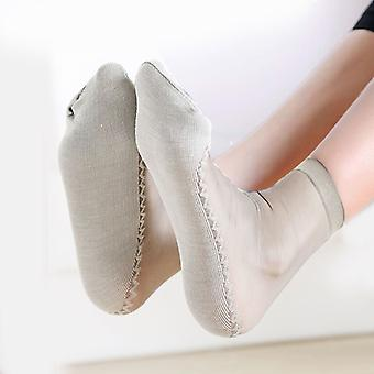 1 Paire Printemps Été Femmes Soft Socks Casual Non-slip Bottom Splice Fashion Transparent Ladies Girls
