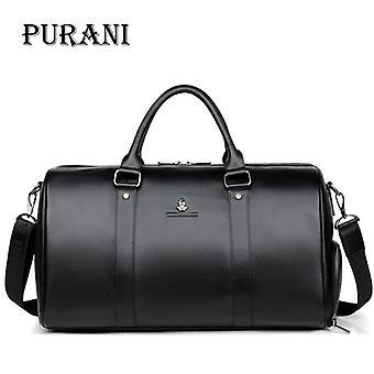 Purani 100% véritables hommes en cuir sacs de voyage nuit sac polochon week-end voyage grand sac d'affaires sacs de voyage crossbody