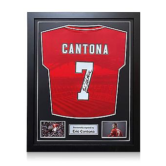 Eric Cantona Signed 1996 Manchester United Shirt. Framed