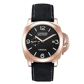 Montre-bracelet militaire en cuir brun quartz imperméable pour hommes